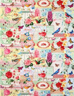 Michael Miller Collage flower butterfly bird fabric Menagerie Collage 3