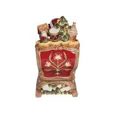 Damask Holiday Sleigh Cookie Jar