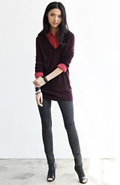 Equipment Cashmere Sweater, Silk Shirt & Current/Elliott Jeans  available at #Nordstrom