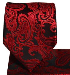 Red and Black Paisley Tie and Pocket Square