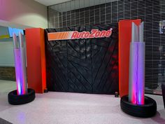 This tire tread wall was the perfect addition to the lobby at the FedEx Forum. Our creative team at Holliday's created the tire tread wall, printed the Autozone sign, and the built the super large exhaust pipes!