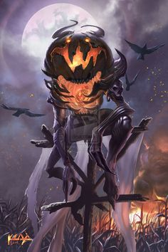 The Pumpkin King - Started Halloween, knows everyone's fears and can make them real, can control beings with pumpkins on their head Monster Design, Monster Art, Arte Horror, Horror Art, Arte Obscura, 3d Fantasy, Creature Concept, Creature Design, Mythical Creatures