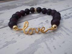 LOVE Bracelet in Burgundy Matte Plum Jade by BreakingHeartsJewels, Love Bracelets, Handmade Bracelets, Beaded Bracelets, Handmade Gifts, Plum, Jade, Burgundy, Jewels, Trending Outfits