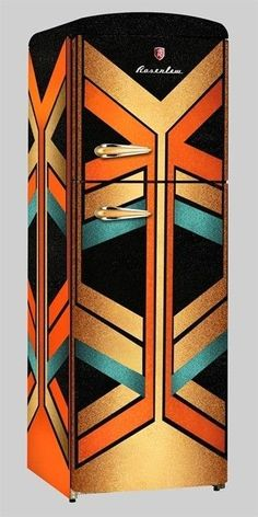Wow - not vintage but so cool! This Art Deco refrigerator is colorful and bold, featuring geometric and angular decoration. It would make for an interesting emphasis piece in an eclectic modern kitchen. Motif Art Deco, Art Deco Decor, Art Deco Design, Art Nouveau, Art Deco Furniture, Painted Furniture, Modern Furniture, Ikea Furniture, Furniture Showroom
