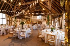 Wedding Reception Ready At Stunning Barn Venue Clock In Whitchurch Hampshire