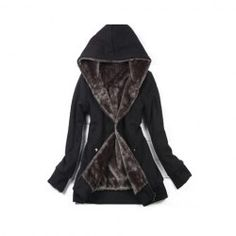 $12.38 Casual Hooded Solid Color Long Sleeves Fleece Thicken Good Quality Cotton Blend Hoodie Coat For Women