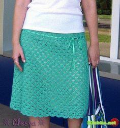 Fazendo Crochê com a Rita: Saia de Crochê Verde