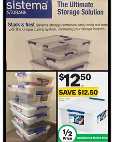 Need to organise stuff around the house? The #Sistema #homestorage range is my absolute favourite. Why? Being rectangle they are more space efficient that round containers/baskets. They come in a range of sizes that stack up perfectly. The lids keep dust out and are easy to use. They have a removable tray. They are clear so you can see what's inside. They're BPA free.  AND they're #halfprice at @woolies until tues 11.10.16 I highly recommend these for all your home #storage needs. I use them…