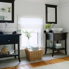 Sensible Storage: Look down for untapped storage potential. A console unit is a great choice to take the place of a traditional vanity, but it can sacrifice storage space. Look for console styles with handy shelves, towel bars, or other storage features.