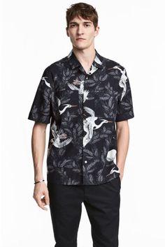 Casual overhemd - Regular fit - Donkerblauw/vogels - HEREN   H&M NL 1