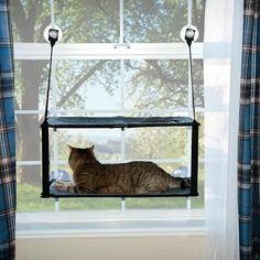 """K&H Pet Products Kitty Sill - Double Stack EZ Window Mount Gray / Black 12"""" x 23"""" x 0.5"""" - Johnny's Pet Supply"""
