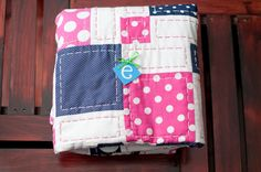 Navy Hot Pink and White Polka Dot Crib Quilt