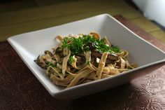 Fettuccine w/ White Wine Roasted Shiitakes - Vegan w/ a splash of lemon instead of Parm