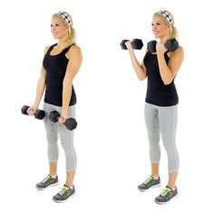 Free Weight Exercises for Toned Arms - BICEPS - Bicep Curl: Don't let the simplicity of this exercise fool you — it's still going to make those biceps burn! For further instructions, click here.