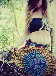 Mini Wrap Skirt Peacock Hippie Skirt CoverUp Boho by Cloud9Jewels, $25.00