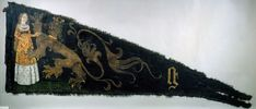 Battle standard of the Ghent civic militia emblazoned with the Maid of Ghent. Attributed to Agnes vanden Bossche. ca. 1482.