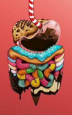 Corpo humano por dentro feito de doces