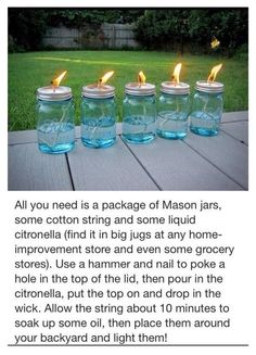 DIY - Citronella Mason Jars - Perfect for outdoor weddings and receptions! Mason Jar Crafts, Mason Jars, All You Need Is, Just In Case, Home Remedies, Natural Remedies, Do It Yourself Baby, Partys, Outdoor Projects