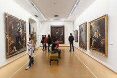 El Museo de Bellas Artes de Asturias está instalado en el Palacio de Velarde, la Casa de Oviedo-Portal y la Casa de Solís-Carbajal
