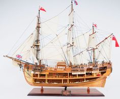 "CaptJimsCargo - HMS Bark Endeavour Cutaway Wooden Tall Ship Model 37"" Sailboat, (http://www.captjimscargo.com/model-tall-ships/exploration-ships/hms-bark-endeavour-cutaway-wooden-tall-ship-model-37-sailboat/) This HMS Endeavour ship model is a fully finished planked model on one side, and a cut-away view on the other."