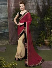 Beige & Maroon Color Georgette Function & Party Wear Sarees : Nakhir Collection YF-29950