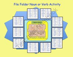 File Folder Noun and Verb Activity (PDF) This is a PDF file. There are 12 pages in this file that can be used to make a File Folder Noun and Verb activity. Teaching Language Arts, Speech And Language, Verb Activity, File Folder Activities, Folder Games, Second Grade Writing, Prefixes And Suffixes, Nouns And Verbs, Art Therapy Activities