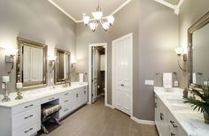 Sherwin-Williams' Functional Gray paint color beautifies this bathroom.