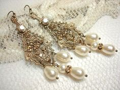 Antique gold Swarovski crystal Chandelier earrings