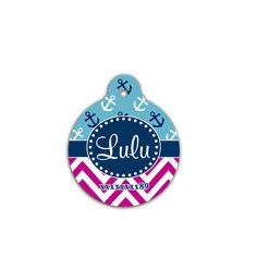 Nautical design round pet tag, anchors and chevron customized ID for pets