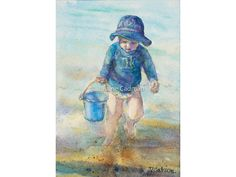 Playing at the Beach Original Watercolour Painting - Watercolour Painting - Seascape Painting - Nursery Art Painting - Wall Art Nursery Paintings, Seascape Paintings, Nursery Art, Watercolour Paintings, Painting People, Figure Painting, Wall Art Prints, Fine Art Prints, Beach Watercolor