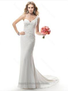 Trumpet/Mermaid One Shoulder Chiffon Court Train Appliques Wedding Dresses -$279.29