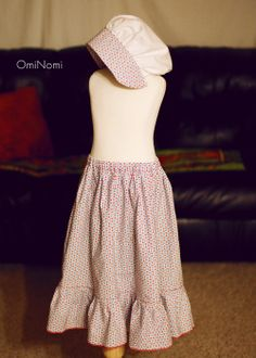 """Easy pioneer prairie skirt and bonnet pattern for little girls. Used this pin as a basis for one I made my daughter for """"Pioneer Day"""" in first grade. Pioneer Costume, Pioneer Dress, Pioneer Girl, Pioneer Camp, Pioneer Clothing, Bonnet Pattern, Prairie Skirt, Skirts For Kids, Skirt Tutorial"""