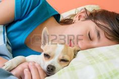 Cute girl sleeping with her little chihuahua dog