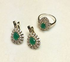 Hurrem!! Ottoman Turkish Handmade Sterling Silver Emerald & Topaz Set !!Size 9.5  | eBay