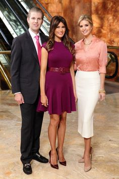 All-Star Celebrity Apprentice Episode With Eric and Melania. I'm wearing a Whiteley Pink Silk Blouse, J Mary White Jersey Pencil Skirt, Ivanka Trump Rose Gold Bow Earrings and Ferragamo Shoes. Donald Trump Family, Donald And Melania Trump, First Lady Melania Trump, Trump Melania, Malania Trump, John Trump, Eric Trump, Melania Knauss Trump, Ivanka Trump Style