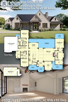 New American Style Modern Farmhouse House Plan 915042CHP gives you 2600+ sq ft - 3 bedrooms - 3.5 baths - Bonus Room Above Garage. Click the pin to learn more! AD House Plan #915042CHP #adhouseplans #architecturaldesigns #houseplans #homeplans #floorplans #homeplan #floorplan #floorplans #houseplan #blackfarmhouse #modernfarmhouse #farmhousedesign #designtrend #homedesign #modernhomedesign #homedesigns #newhouseplans New House Plans, Dream House Plans, Modern House Plans, House Floor Plans, Building Plans, Building A House, Open Concept Floor Plans, Beautiful Home Designs, House Blueprints