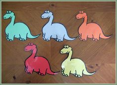 """Five Dinosaurs"" Flannel Board for a Dinosaurs themed story time.  http://thestorytimelady.wordpress.com/2012/02/24/five-dinosaurs/"