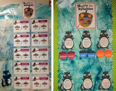 Multisyllabic Words:Charlie's Nutty About Syllables Bulletin Board and Word Wall are used as a reference during Word Wizard time. Students use the Syllabication Posters to help determine syllable type and we add weekly words to the Word Wall.