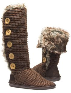 Knit Sweater Fur Cuff Button Slouchy Knee High Boot Brown
