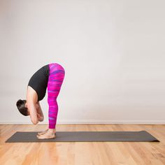 From Wide Squat, press your hands into the floor to straighten your legs, coming into a standing forward bend. Bend the arms and take hold of opposite elbows. Hip Flexibility, Increase Flexibility, Fish Pose, Cow Pose, Forward Fold, 10 Minute Workout, Tight Hips, Cool Yoga Poses
