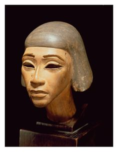 Head of a Harpist, from Tell El-Amarna, C.1370-1360 BC (Wood) Egyptian 18th Dynasty