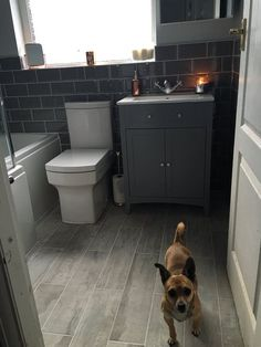 Grey Metro tiles give a contemporary look to our classic Camberley vanity basin unit in grey. What do you think to Danielle from Bolton bathroom? Metro Tiles Bathroom, Zen Bathroom, Small Bathroom Vanities, Family Bathroom, Bathroom Flooring, Bathroom Ideas, Small Grey Bathrooms, Bathroom Island, Small Bathroom Layout