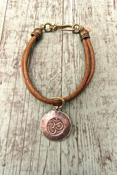 Handcrafted Bohemian Jewelry, Hippie Chic Bracelet, Boho Chic Leather Cord Bracelet, Hill Tribe Silver OM Bracelet, Yoga Jewelry