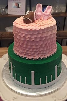 Touchdown or Tutus - gender cake for baby!