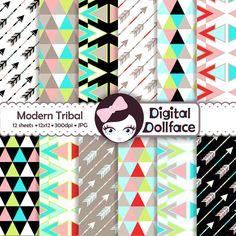 Love the stark color contrast! Modern Tribal Digital Paper Arrows Triangles by DigitalDollFace