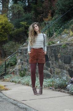 Corduroy shorts and tights #brown #top #stripes