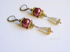 Victorian Bridal jewelry  earring burgundy by ArtEraBridalVeil, $20.00