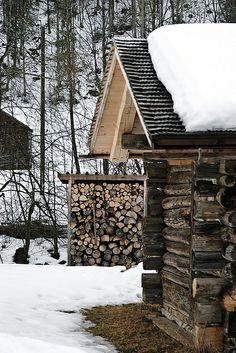 cabin + woodpile, gstaad, switzerland
