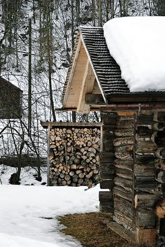 Cabin and woodpile, Gstaad, Switzerland