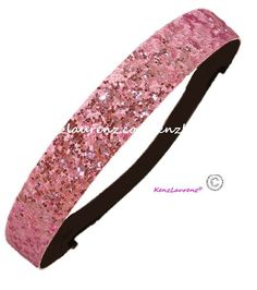 Glitter Headbands Light Pink by Kenz Laurenz – Elastic Stretch Sparkly Fashion Headband for Teens Girls Women Softball Pack Volleyball Basketball Sports Teams Set Hair Accessories Store